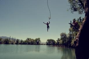 Man falling into lake